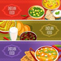 Conjunto de Banners horizontais de comida indiana vetor