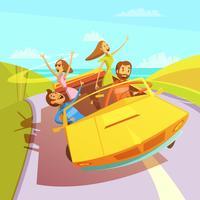 Ilustração de amigos em viagem