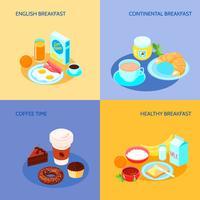 Conjunto plano de café da manhã vetor