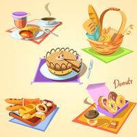Conjunto de desenhos animados de padaria