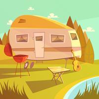 Reboque e ilustração de acampamento