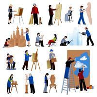 Conjunto de ícones de pessoas de profissão criativa vetor