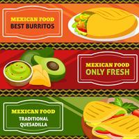 Conjunto de Banners horizontais de comida mexicana vetor