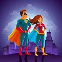 Casal de super heróis vetor