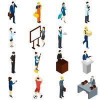 Conjunto de ícones isométrica profissional pessoas trabalho
