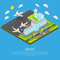 Poster do aeroporto isométrico vetor