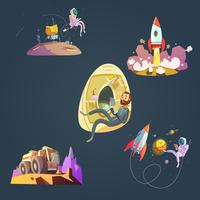 Conjunto de desenhos animados do espaço vetor