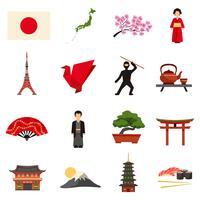 Conjunto de ícones plana de cultura do Japão vetor