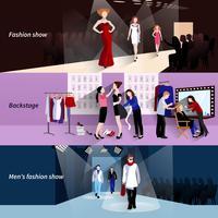 Conjunto de banner de passarela de modelo de moda vetor