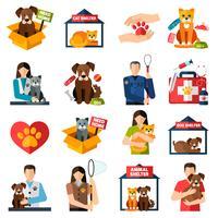 Conjunto de ícones de abrigo de animais vetor