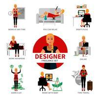 Conjunto de Designer Freelancer vetor