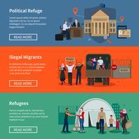 Banners horizontais de refugiados apátridas vetor