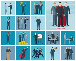 Conjunto de ícones de liderança e sucesso vetor