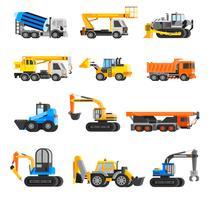 Conjunto de ícones de máquinas de construção