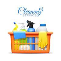Produtos Domésticos De Limpeza Na Ilustração Da Cesta vetor