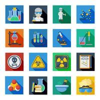 Conjunto de ícones plana de química em quadrados coloridos