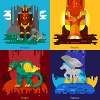 Criaturas Míticas Minotauro Dragão Fênix Pégaso vetor