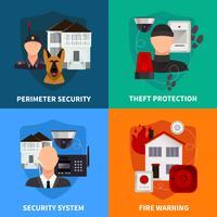 Conjunto de conceito de Design de segurança em casa 2 x 2