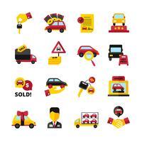 Conjunto de ícones de concessionária de carros vetor