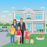 Ilustração plana de membros da família