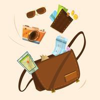 Conceito de saco de turista vetor