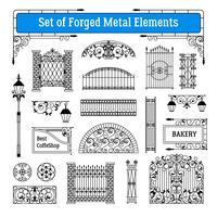 Conjunto de elementos de metal forjado vetor