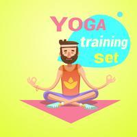 Desenhos animados retrô de ioga vetor