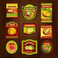 Emblemas coloridos brilhantes de comida mexicana vetor