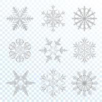 Conjunto cinza de flocos de neve vetor