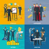 Conjunto de ícones de conceito de liderança vetor