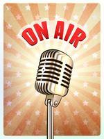 Microfone retro no cartaz do fundo do ar