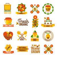 Conjunto de rótulos de mel natural orgânico vetor