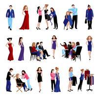 Ícones de passarela de modelo de moda vetor