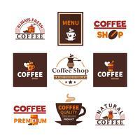 Coleção de emblemas de Design Coffee Shop Cafe vetor