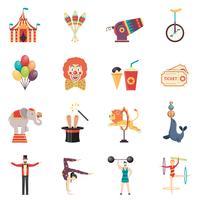 Conjunto de ícones de cores planas de desempenho de circo
