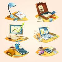 Conjunto de desenhos animados retrô de negócios vetor