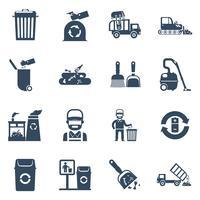 Ícones de eliminação de lixo preto vetor