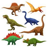 Dinossauros, cor, ícones, Iet vetor