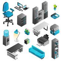 Conjunto de ícones interiores de escritório vetor