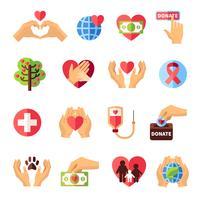 Conjunto de ícones de caridade vetor