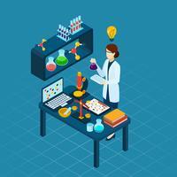 Cientista no banner isométrica de profissão de trabalho