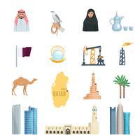 Conjunto de ícones plana do Qatar vetor