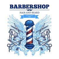 Cartaz liso da propaganda da barbearia vetor