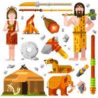 Ícones de homem das cavernas pré-históricas da idade da pedra