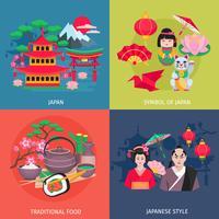 Símbolos japoneses 4 ícones lisos quadrados vetor