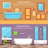Conjunto de Banner Interior de casa de banho vetor