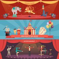 Banners horizontais de desempenho de circo