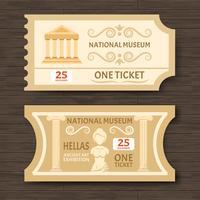 Dois ingressos para o Museu Vintage vetor