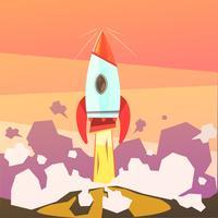 Ilustração de lançamento de foguete