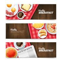 Conjunto de Banners horizontais plana de pequeno-almoço saudável vetor